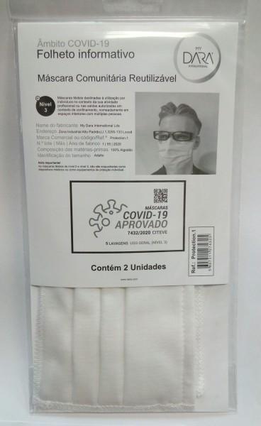 MÁSCARAS COVID-19 REUTILIZÁVEIS APROVADAS (PACK 2 UNIDADES)